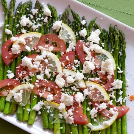 Asparagus with Lemon, Tomato, Queso Fresco - Finished Dish 1