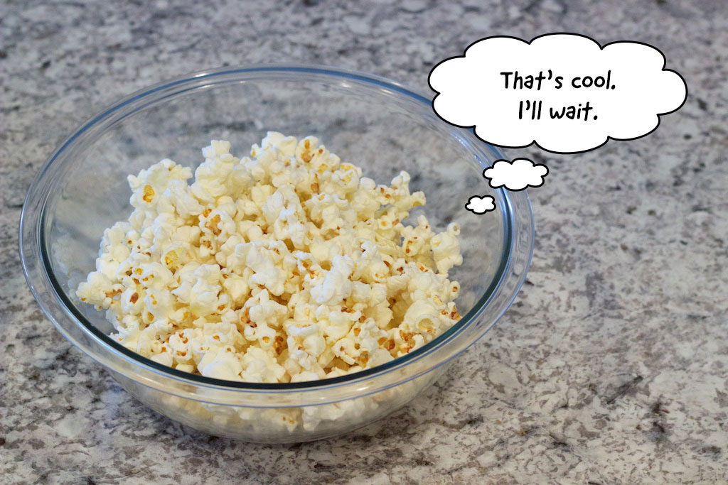 Popcorn in a bowl saying that's cool, I'll wait